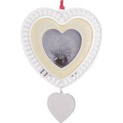Engraved Pearlized Lace Heart Photo Frame/Ornament