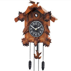 Wooden Musical Cuckoo Clock with Bird Pendulum