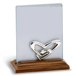 Double Heart Sterling Silver & Wood Frame