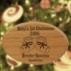 Personalized Baby's 1st Christmas Wooden Oval Ornament