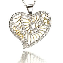 Swirl CZ Heart Two Tone Necklace