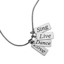 Sterling Silver Sing, Live, Dance, Love Necklace
