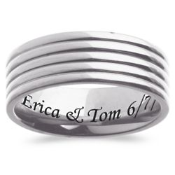 Mens Titanium Engraved Purity Band - Personalized Jewelry