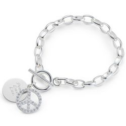 Silver-Plated Peace Sign Bracelet with Engravable Round Charm