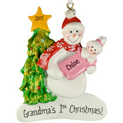 First Christmas as a Grandma with Baby Girl Snowman Ornament