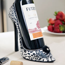 White Cheetah High Heel Wine Holder