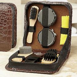 7 Piece Shoe Shine Kit in Croc Print Case