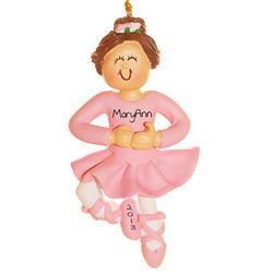 Personalized Brunette Ballerina Christmas Ornament