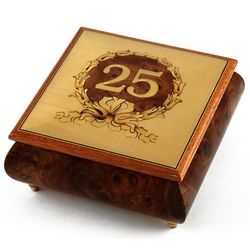 Handcrafted 22 Note Happy 25th Musical Jewelry Box