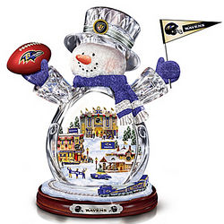 Baltimore Ravens Crystal Snowman with Moving Train