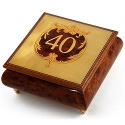 Handcrafted 22 Note 40th Anniversary or Birthday Music Box