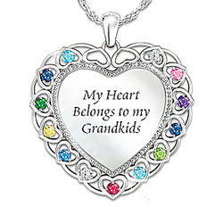 My Heart Belongs to My Grandkids Personalized Necklace