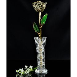24 Karat Gold Trimmed Leopard Rose with Crystal Vase
