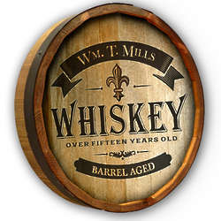 Personalized Barrel Aged Whiskey Quarter Barrel Sign