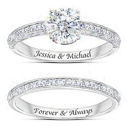Personalized Diamonesk Bridal Ring Set with Eterna Stone