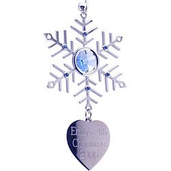 Crystal and Silver Snowflake Ornament with Heart Charm