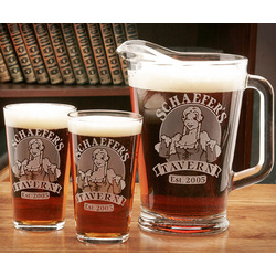 Personalized Bar Maid Two Pint Glass & Pitcher Set