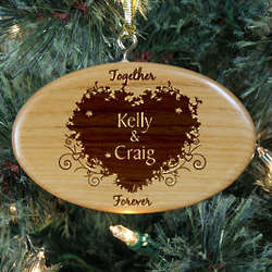 Personalized Together Forever Couples Wooden Oval Ornament