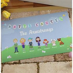 Personalized Easter Family Characters Doormat