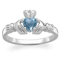 Sterling Silver March Birthstone Claddagh Ring