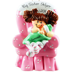 Big Sister in Pink Chair Personalized Ornament