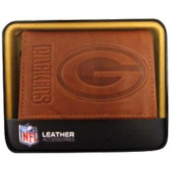 Green Bay Packers Men's Leather Trifold Wallet