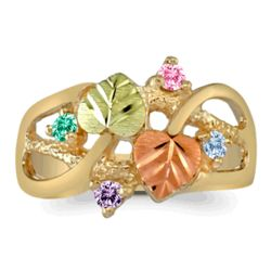 Gold Leaves and Family Birthstone Ring