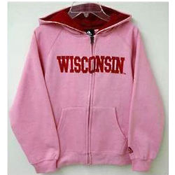 Girls Pink Full Zip Sportsman Badgers Hoodie