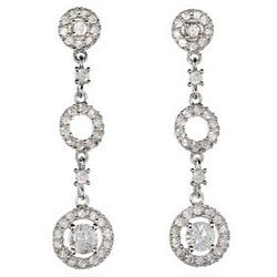 Delicate Antique Style Silver Circle Drop Earrings