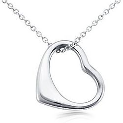 Medium Open Heart Sterling Silver Pendant