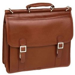 Brown Leather Flapover Briefcase