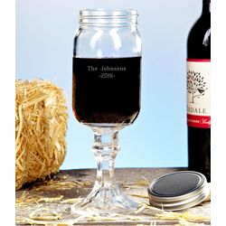 Redneck Mason Jar Personalized Wine Glass