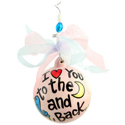 I Love You to the Moon and Back Ceramic Ball Ornament