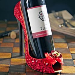 Lipstick Red Sequin Shoe Wine Holder
