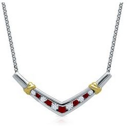 Ruby and White Sapphire Necklace in Sterling Silver and Gold