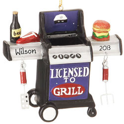Licensed to Grill Personalized Christmas Ornament