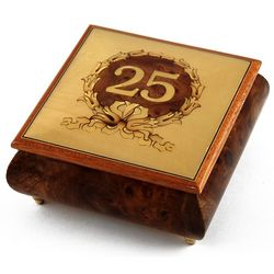 Handcrafted 30 Note Happy 25th Musical Jewelry Box