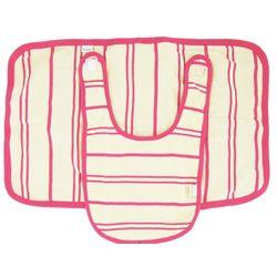 Pink and Vanilla Stripe Organic Cotton Bib and Burp Coth Set