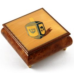 Traditional Jewish Dreidel Wood Inlay Musical Jewelry Box