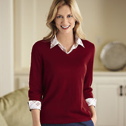 Womens Two-fer Shirt Sweater