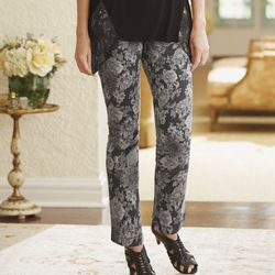 Misses Gray Floral Jean