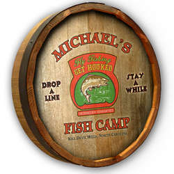 Personalized Fish Camp Quarter Barrel Bar Sign