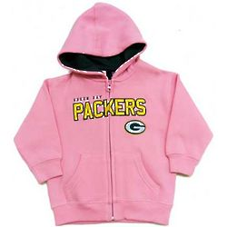 Infant's Green Bay Packers Pink Full-Zip Hoodie