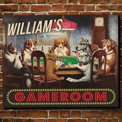 Dogs Playing Poker Large Personalized Bar Sign
