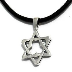 Sterling Silver Star of David on Leather