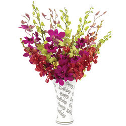 Happy Birthday Orchid Bouquet with Vase