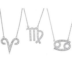 Sterling Silver CZ Zodiac Pendant