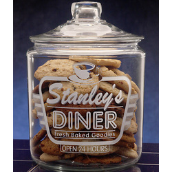 Personalized Retro Diner Theme Etched Glass Cookie Jar