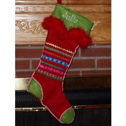 Buttoned Ribbon Personalized Stockings