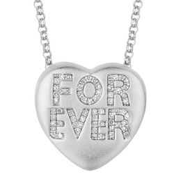 Diamond Heart Forever Necklace in Sterling Silver or Gold Plate